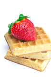 Big juicy ripe strawberries and waffles Stock Photo