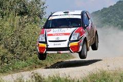 Big jump of a rally car Stock Photo