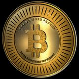 Bitcoin, Realistic Gold With Details Isolated. Big 4K, High Quality Concept of a realistic bitcoin with scratches concept modeled in 3D Isolated in black Stock Image