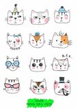 Big kawaii set of doodle cute sweet cats, sketch characters, hand drawn, cats faces ith different emotions, emoticons, smileys. Cats faces ith different emotions vector illustration