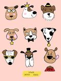 Big kawaii set of doodle cute sweet dogs, clipart collection, dogs faces with different emotions, emoticons, smileys. Big kawaii set of doodle cute sweet dogs royalty free illustration