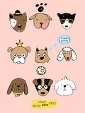 Big kawaii set of doodle cute sweet dogs, clipart collection, dogs faces with different emotions, emoticons, smileys. Big kawaii set of doodle cute sweet dogs stock illustration