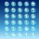 Big kit of buttons with different images for the user interface Stock Images