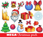 A big kit of christmas hand drawn icons. A big kit of christmas icons - presents, santa, snowman Stock Images