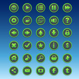 Big kit of round buttons with different images for the user inte Stock Images