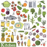 Big kitchen set. Utensils and food, vegetables, fruit and dessert. Hand drawing sketch Royalty Free Stock Images