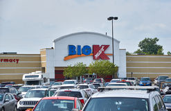 Big Kmart store and logo. PLATTSBURGH, USA - AUGUST 23, 2017 : Big Kmart store and logo. Kmart is an American big box department store chain headquartered in Stock Photos
