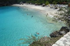 Grote Big Knip beach at Curacao, Antilles Caribbean. The big Knip, officially called Playa Kenepa Grandi, is considered as one of the most beautiful beaches of Royalty Free Stock Photos