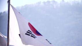Korea flag waves