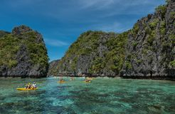 Big Lagoon in El Nido, Palawan. Sightseeing place in Philippines. Many People visit this place and get boat ride to see the lagoon stock photography