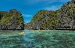 Big Lagoon in El Nido, Palawan. Sightseeing place in Philippines. Many People visit this place and get boat ride to see the lagoon stock photos
