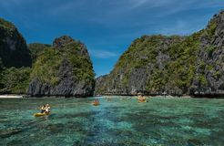 Big Lagoon in El Nido, Palawan. Sightseeing place in Philippines. Many People visit this place and get boat ride to see the lagoon. Philippines stock photo
