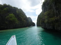 Big Lagoon. This is the big lagoon in EL Nido. The lagoon is only passable during high tide stock image