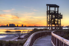 Big Lagoon Observation Tower Sunset Stock Photos