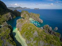 Big Lagoon and Small Lagoon in El Nido, Palawan, Philippines. Tour A route and Place. Miniloc Island. Big Lagoon and Small Lagoon in El Nido, Palawan royalty free stock photos