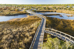 Big Lagoon Winding Boardwalks. Boardwalk trails cross a tidal outlet to Grand Lagoon in Big Lagoon State Park near Pensacola, Florida royalty free stock photos