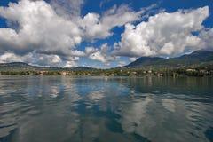 The big lake. A panorama of coast of lake Leman in Switzerland stock photo