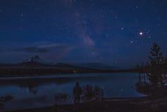 Big Lake Milky Way. The Milky Way rising over Mt Washington and Big Lake in Oregon Royalty Free Stock Photos