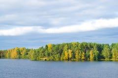 Big lake under cloudy sky in Karelia, Russia Royalty Free Stock Photo