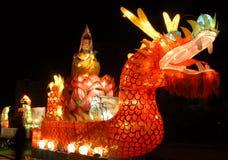 A big Lantern. Beautiful grand big Lantern at night, resplendent, diversified color in QingDao of China Stock Photo