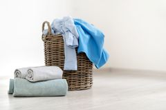 Laundry room interior with basket of clothes royalty free stock photos