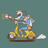 Big laser gun alien with yellow vespa Royalty Free Stock Photo