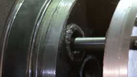 Big lathe. Modern lathe. Working modern lathe. Working lathe with manual control. Big lathe. Modern lathe. Working modern lathe Fullhd stock video