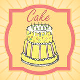 Big layer cake colored hand drawn sketch, vintage poster.  Royalty Free Stock Images