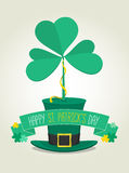 Big 3 leaf clover on the hat. Saint Patrick's Day -  illustration Royalty Free Stock Photos