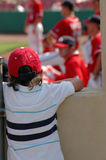 Big League Dreams. Little boy peeking over dugout to watch baseball game stock photography