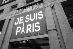 A big led display showing the phrase Je suis Paris in Milan, Ita Stock Images