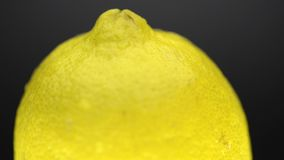 Big lemon rotating. Big ripe lemon fruit rotating on dark background stock footage