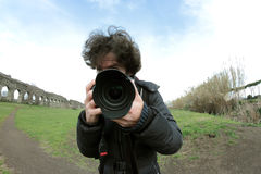 Big lens Photographer Royalty Free Stock Photo