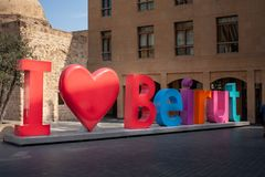 Big letters forming `I love Beirut` sign in the downtown of Beirut, the capital of Lebanon. stock photography