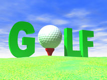 Big Letters Spell Golf. The word Golf is spelt with big letters and a white ball on red tee Stock Images