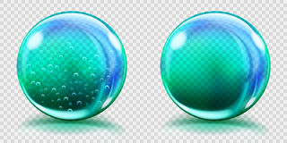 Big light blue glass spheres with air bubbles and without. Two big light blue glass spheres with air bubbles and without, and with glares and shadows royalty free illustration