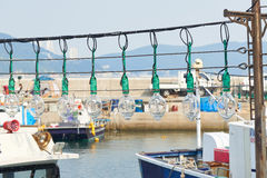Big light bulbs in a fishing boat Stock Photos