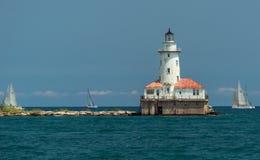 Big light house on a Michigan Lake Stock Photos