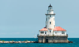 Big light house on a Michigan Lake stock photo