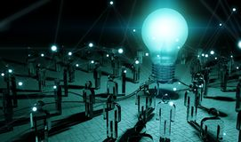 Big lightbulb illuminating a group of people 3D rendering. Big lightbulb and connections illuminating a group of people in dark interior 3D rendering Royalty Free Stock Image