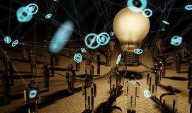 Big lightbulb illuminating a group of people 3D rendering Royalty Free Stock Photography