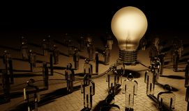 Big lightbulb illuminating a group of people 3D rendering. Big lightbulb illuminating a group of people in dark interior 3D rendering Royalty Free Stock Image