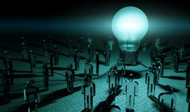 Big lightbulb illuminating a group of people 3D rendering Royalty Free Stock Image