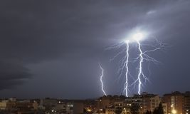 Big lightning storm at Granollers stock photography