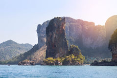 Big limestone island in andaman sea Thailand Stock Photography