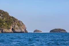 Big limestone island  at coastline in andaman sea krabi Thailand. Big limestone island at coastline in andaman sea krabi Thailand in sunny day Royalty Free Stock Image