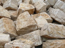 Big limestone rocks. For road fixing Stock Photo
