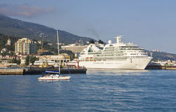 Big liner in port, Yalta Stock Image