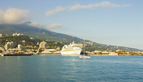 Big liner in port, Yalta Stock Photo