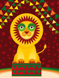 Big lion in the circus. Vector. Illustration Royalty Free Stock Photo